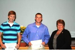 2012 Scholarship Recipients Dan Zimmerman, President Gail Lierer and Matt Barnes