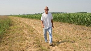 Don Ralph walks down a path where he planted native grasses to prevent runoff from his fields into nearby stream.
