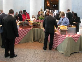 Attendees of the Ohio Senate lunch enjoyed Ohio products from dairy to poulty and from lamb to pork.
