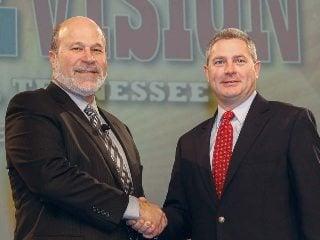 AFBF President Bob Stallman (left) congratulates OFBF President Steve Hirsch, a farmer from Ross County.