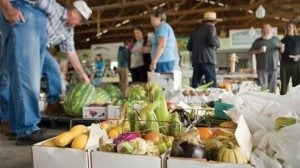 The auction offers both small and large lots of fresh produce and other items for sale.
