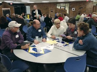 Farm Bureau members discuss local issues during a Community Council session at a recent leadership meeting.
