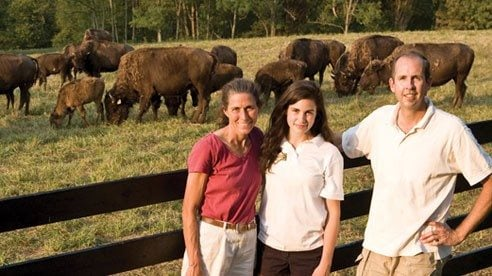 Cindy Cassell, Steve Uible and their daughter Emma raise bison on their farm in southwest Ohio. They originally wanted to raise the animals to keep their land in agriculture, but they soon found customers for their meat.