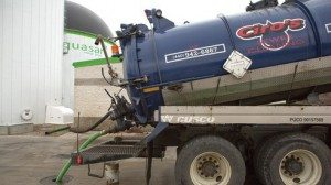 A truck delivers food waste that will be converted to energy and fertilizer.