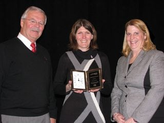 (Pictured l to r) Jack Fisher, OFBF executive vice president, Ms. Haines and Sandy Kuhn, AgriPOWER director.