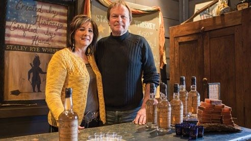 Missy and Joe Duer in the new distillery they built two years ago. Their rye whiskey uses the same recipe, equipment and method as that used by Missy's forefathers for 100 years.