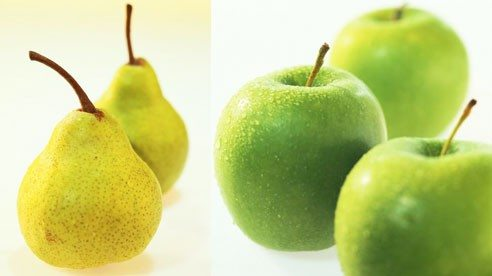 Pears and apples are sources of soluble fiber.