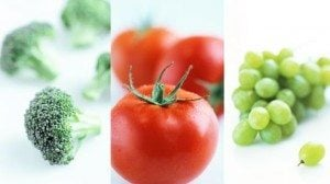 Broccoli, tomatoes, and grapes are sources of insoluble fiber.