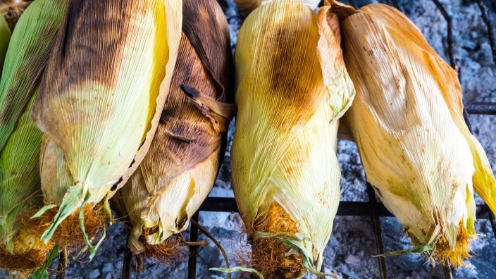 Corn are grilled on grill grates, Asian street food