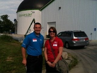 OFBF staff Kern and Lesicko at the Quasar digester in Wooster on a recent tour of ATI and OARDC.