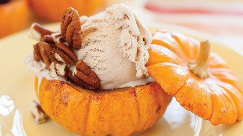 The tiny cousins of carving pumpkins with names like Munchkins, Little Goblins and Jack Be Nimble are perfect single serving, edible containers for sweet filling like ice cream pudding or custards. Don't forget that savory options like rice and risotto dishes are good options, too.