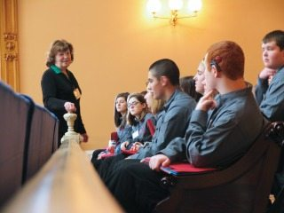 Last year's Capitol Challenge participants learning about policy development.