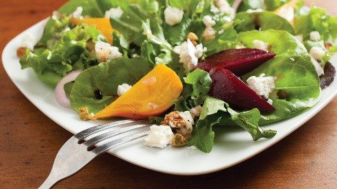 Delicious and sweet, roasted beets and creamy, tangy goat cheese buddy up in this simple yet satisfying salad. The salty pistachios add a nice crunch and burst of flavor.