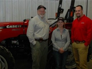 L to R: Jim Henkel, Evolution Ag; Dr. Emily Buck; Derek Hetrick.