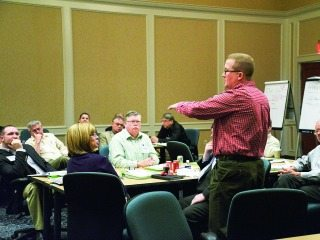 Lane Osswald, a Preble County Farm Bureau member and State Trustee, shares his views during a recent task force meeting.