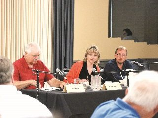 Ohio Farm Bureau's Leah Dorman weighs in during a panel discussion on genetically modified crops in Trumbull County.
