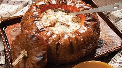 Forget the fondue pot. This fondue bakes right in the pumpkin.