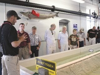 Farm Bureau members look at different Lake Erie fish during a tour of Ohio State University's Stone Lab in July.