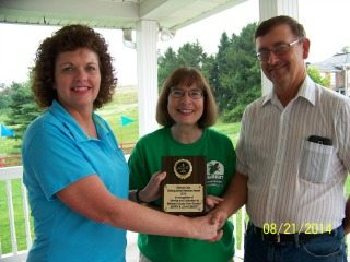 Pictured: Left to right, Julie Wharton, President, Belmont County Farm Bureau and Lova and Jerry Ebbert.