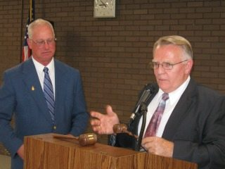 The gavel of the president was transferred from Ralph Coffman(right) to new president Allen Clark (left).