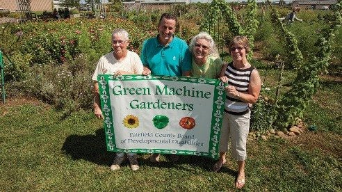 Green Machine supporters include, from left, Jackie Marion, master gardener; Hart Van Horn, Fairfield County Farm Bureau board member; Debra Will, life coach at Fairfield County Opportunity Center, and Trish Jones, master gardener.
