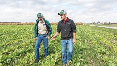 Lynn Eberhard's son, Eric, helps ensure that farmers trying cover crops out for the first time will have success.