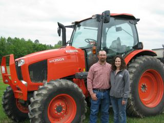 Kelly and Michelle Abfall won use of this Kubota tractor among other great prizes as the 2014 Outstanding Young Farmers