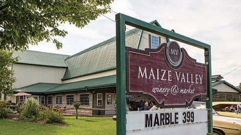 Maize Valley sign welcomes customers to the farm and winery.