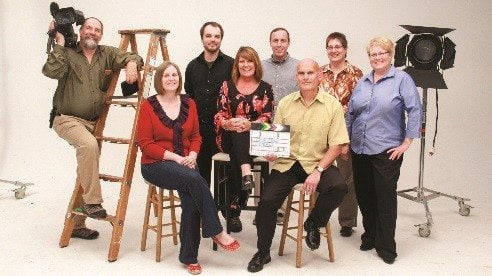 Back row (L-R) Richard Nordstrom (videographer); Mike Schwartz (editor); Jason Wilson (editor); Julie Davis (production mgr); Ann Rotolante (producer). Front row Lynnette Carlino (producer); Kitty Lensman (exec. producer); Richard Wonderling (sr producer)