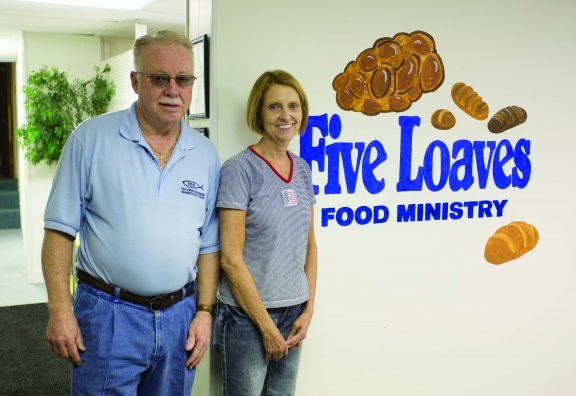 (Left to Right) Mike Lucas and Debbie Gossett are Co-Coordinators at Five Loaves food pantry in Barnesville.(Jodi Miller)