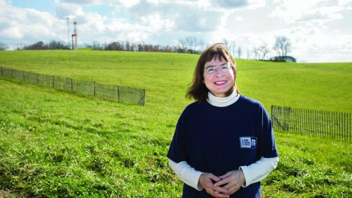 Lova Ebbert and a drill placed on her land.(Jodi Miller)