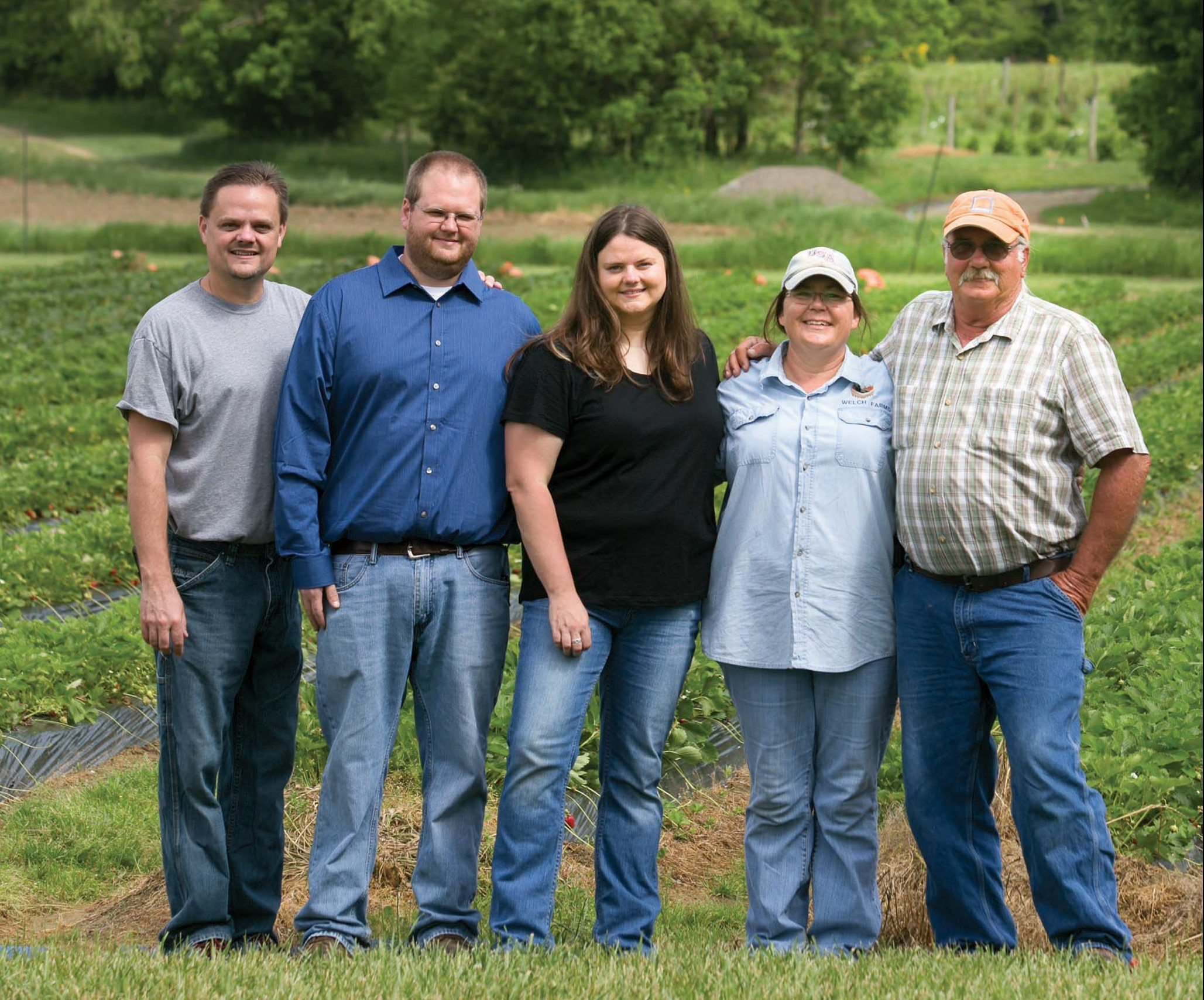 (Left to Right) David Stewart, Jeremy Howard, Allison Welch, Christie Welch and Al Welch. Welch's Strawberry Farm 319 E Hydell Rd, Chillicothe, OH 45601 Phone:(740) 703-4826.(Photos by Jodi Miller)