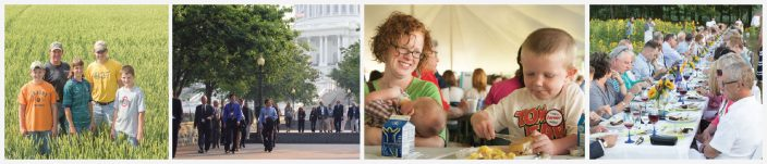 Banner of a family in the farm field, people walking in front of the U.S. capitol, young family eating at an event and an outdoor dinner party