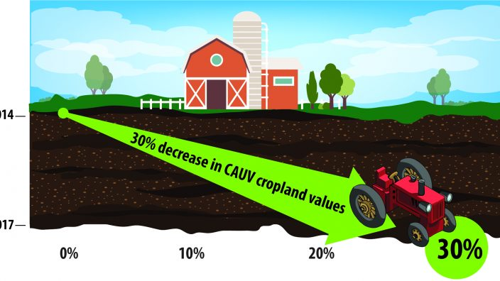 30% decrease in CAUV cropland values infographic