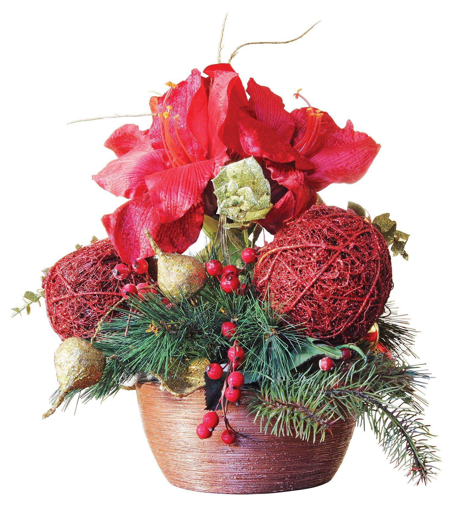 Beautiful Christmas flower arrangement isolated on white background