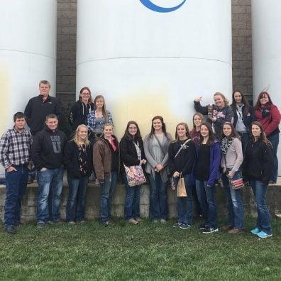 Northwestern FFA chapter members at Fair Oaks Farm.