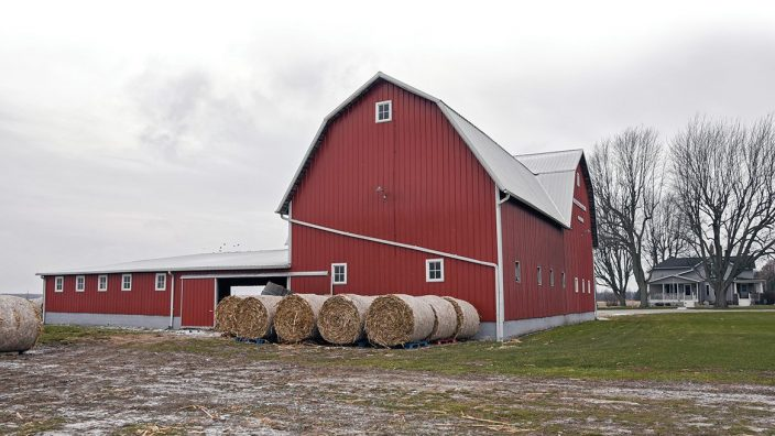 A refurbished century barn is the cornerstone of the Frobose family farm,  which supplies cattle and hogs for Frobose Meat Locker, Inc.,  the family owned and operated purveyor of beef and pork  in Pemberville, Ohio, Monday, Dec. 11, 2017.  (Photograph by Peggy Turbett for the Ohio Farm Bureau)