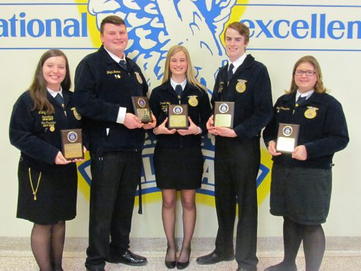 Outstanding Record book: (L to R) Libby Hohler, Blayne Bartter, Hannah Way, Clay Schoen, and Megan Schwendeman.