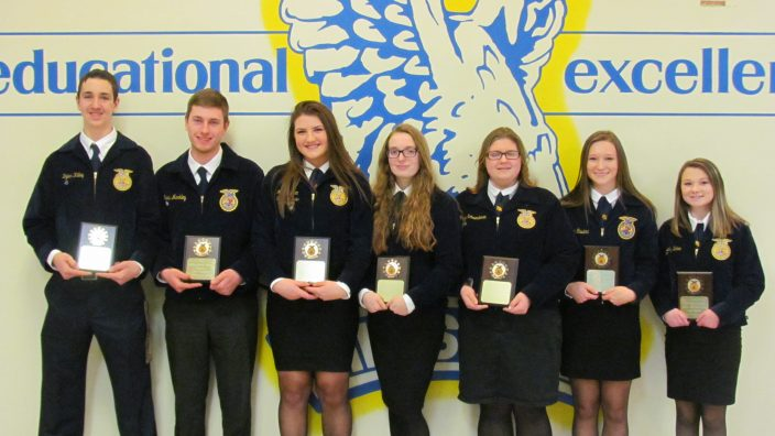 Outstanding Members: (L to R) Libby Hohler, Maryellen Bliss, Molly Moffett, Clay Schoen, Megan Schwendeman and Thor McDonald