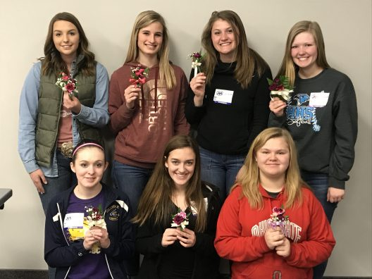 District Members (L to R) Top: Shawna Barr, Hannah Way, Elizabeth Derr, Payton Fickes Bottom: Madison Eaton, Adda Bickel, and Julia Harper.