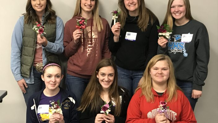 District Members (L to R) Top: Shawna Barr, Hannah Way, Elizabeth Derr, Payton Fickes           Bottom:  Madison Eaton, Adda Bickel, and Julia Harper.