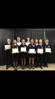 State Degree- Top Row (L to R) Pete Crites, Blayne Bartter, Michael Garn, Lucas Markley, and Alec Becker Bottom Row (L to R) Adrianne McPhillips, Hannah Way, Molly Moffett, and Braxton Slagle.