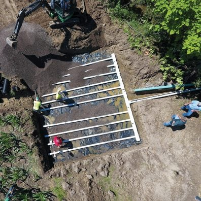An edge of field phosphorus removal bed is installed in 2017 at Kurt Farms, a Blanchard River Demonstration Farm in the Maumee River watershed.