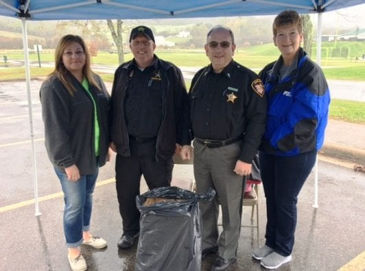 Amy Brown, Noble County Health Department; Deputy Bradley Dudley and Chaplain John Powell, Noble County Sheriffs Department; Betsy Anderson, Senior Organization Director, Noble County Farm Bureau
