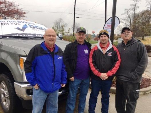 Steve Mercer, Doan Ford; Jerry Ebbert and Devin Cain, Belmont County Farm Bureau trustees; and Joe Miller, Doan Ford