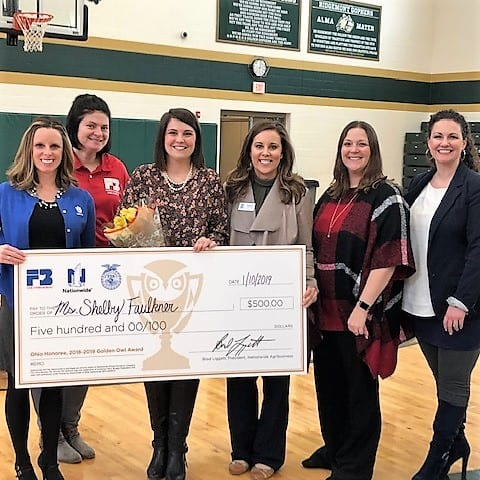 From left are Nationwide's Shawnda Vega, Genny Haun from Ohio Farm Bureau, honoree Shelby Faulkner, Jessica Parrish of Ohio FFA, Nationwide agent Beryl Rogers Dudek and Principal Erica Okeeffee.