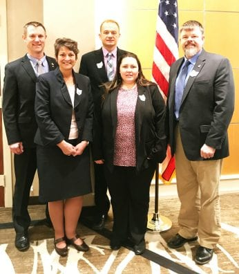 Mike Videkovich, State Trustee; Jan Shannon, Pickaway President; Greg Wells, Ross Vice President; Lynne Schultz, Fairfield President, Scott Sharp, Amanda FFA.
