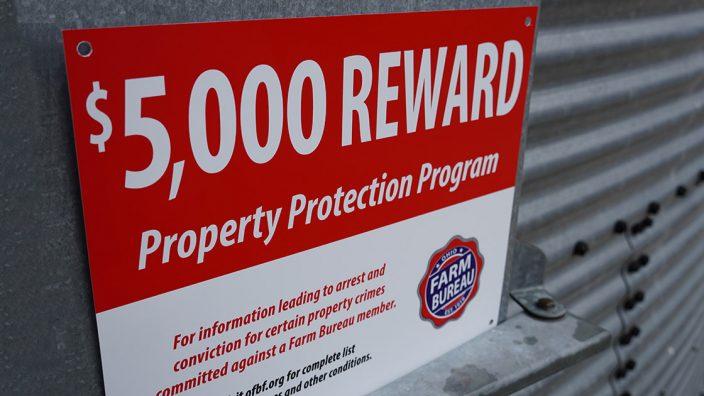 """$500 REWARD FARM BUREAU  9/"""" x 12/"""" Sign"""